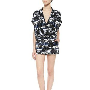 L'Agence Palm Tree Print Stripe Playsuit Romper S